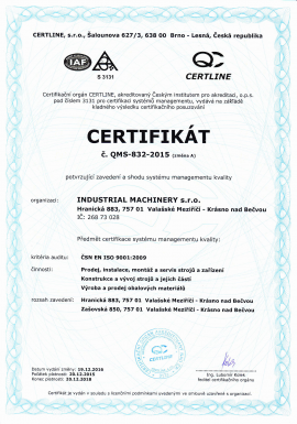 ISO certifikát 9001-2009