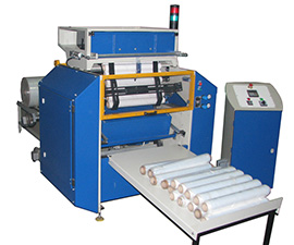 Machine for rewinding stretch